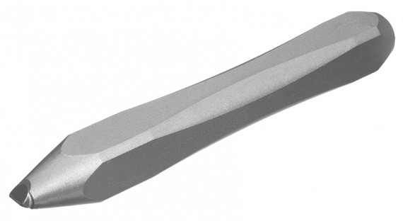 A silver colored carbide tipped bull point material removal tool
