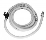 A coiled white ten foot hose assembly