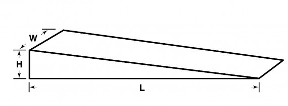 A drawing of the dimensions of a hand splitting wedge