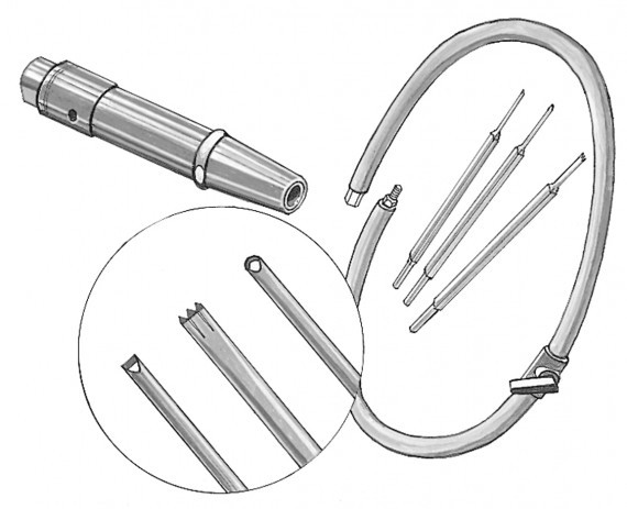 A drawing of the pneumatic barre bantam carving set consisting of pneumatic attachment and carbide chisels