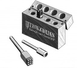 A drawing of a carbide bushing set used in conjunction with other pneumatic stone carving tools