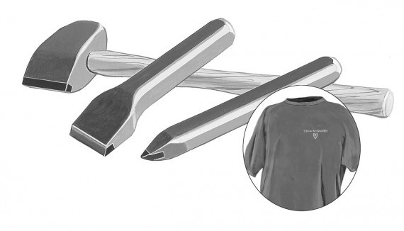 A carbide tool stone hammer chisel point and t shirt used for stone masonry projects