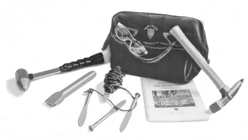 Dry Stone Walling tool set including hammers chisels bag and other stone sculpting toos