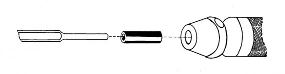 A drawing of a pneumatic shank adapter