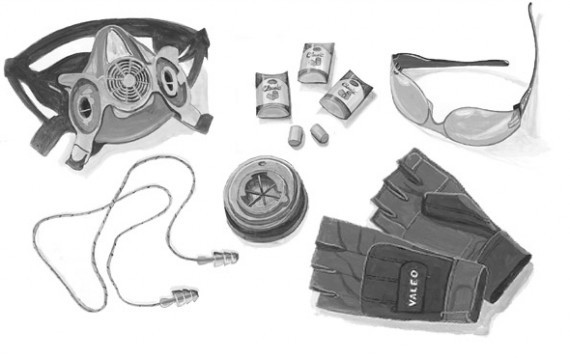 A air tool safety set consisting of a respirator eye protection ear plugs gray fingerless gloves and more