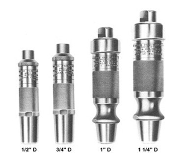 A selection of four type d pneumatic hammers used for shaping hard stone