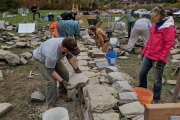 construction of instructional dry stone wall at Vermont Granite Museum